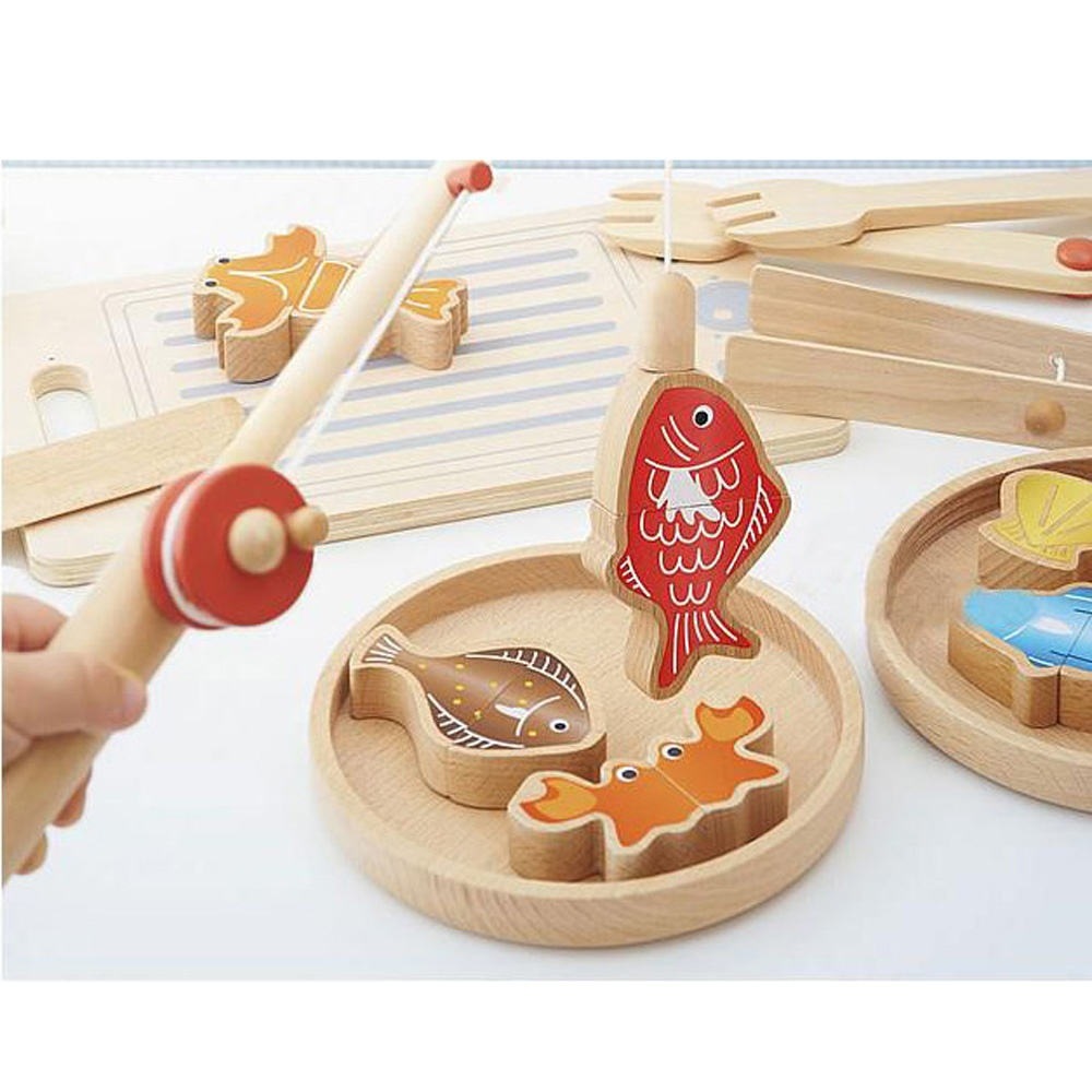 Magnetic Fishing Kitchen Cooking Cutting Game Educational Wooden Baby Toy for Kids Children,Best Gift For Kid's Early Learning(China (Mainland))