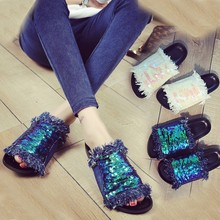 Flip Flops 2016 Summer Shoes Woman Sequins Flat Slippers Thick Bottom Platform Sandals Casual Beach Shoes Open Toe Sandalias
