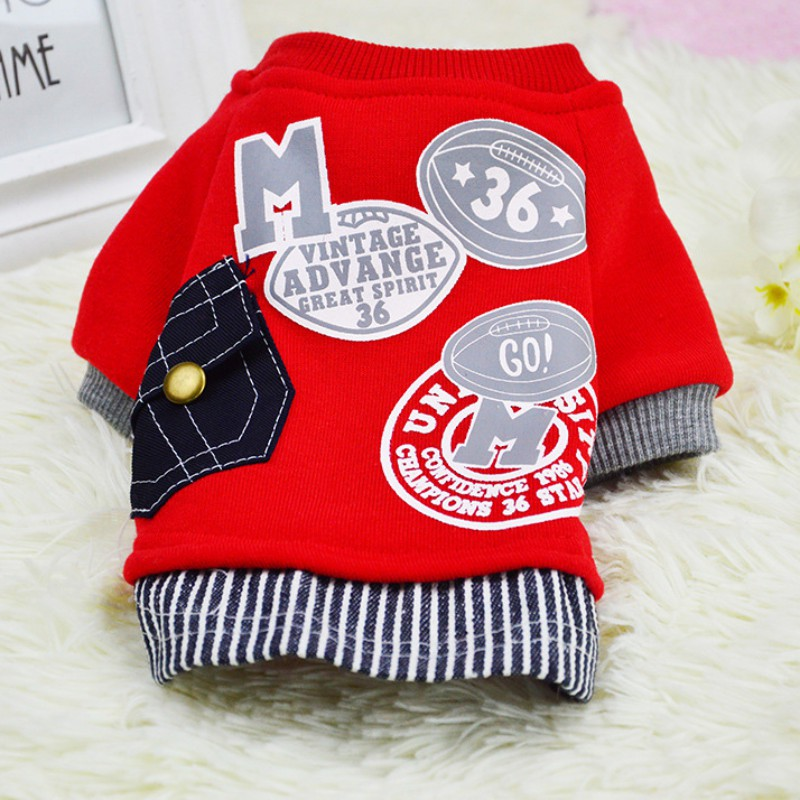Cotton Dog Coat Sweater Cat Pet Clothes Fashion Baseball Costume Sweatshirt Uniform Clothing Puppy Dogs Apparel SS2