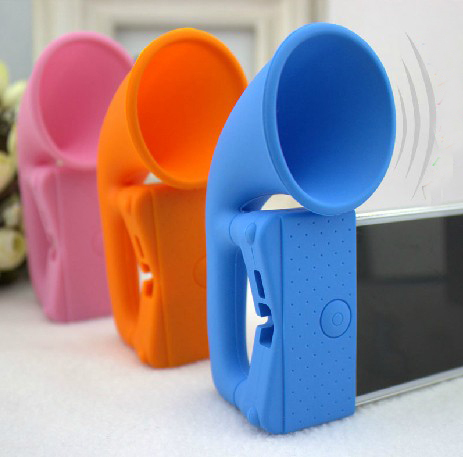 Case for iphone 5 5s,Portable Silicone Horn Stand Amplifier Louder Speaker Case for Apple iPhone 5 5s, Free Shipping(China (Mainland))