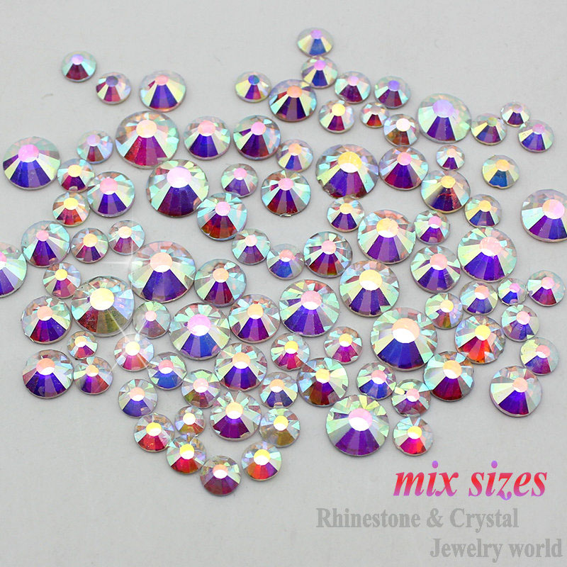 Sale! Mix sizes SS3-SS16 clear Crystal AB color 1000pcs/Bag 3D Non HotFix Nail Art Flatback Rhinestones Decorations(China (Mainland))