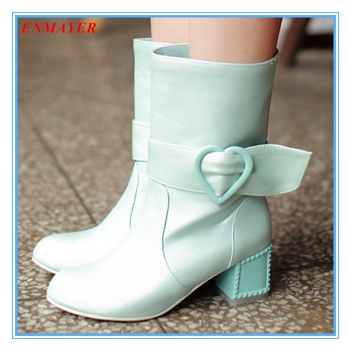 ENMAYER beautiful mid-calf autumn boots wiht heart buckle 3 colors square heels with rivets women boots round toe ladies boots<br><br>Aliexpress