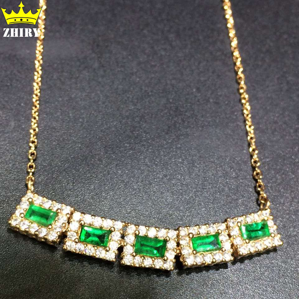 100% natural Emerald Necklace Genuine 925 sterling silver gem Precious stone Fine jewelry Noble royal May birthstone<br><br>Aliexpress