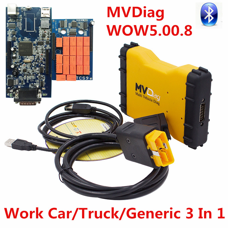 Newest Best Chip WOW 5.00.8 New VCI MVDiag Bluetooth Universal CAR TRUCK Diagnostic Tool Multi Vehicle Diag MVD As WoW Snooper(China (Mainland))