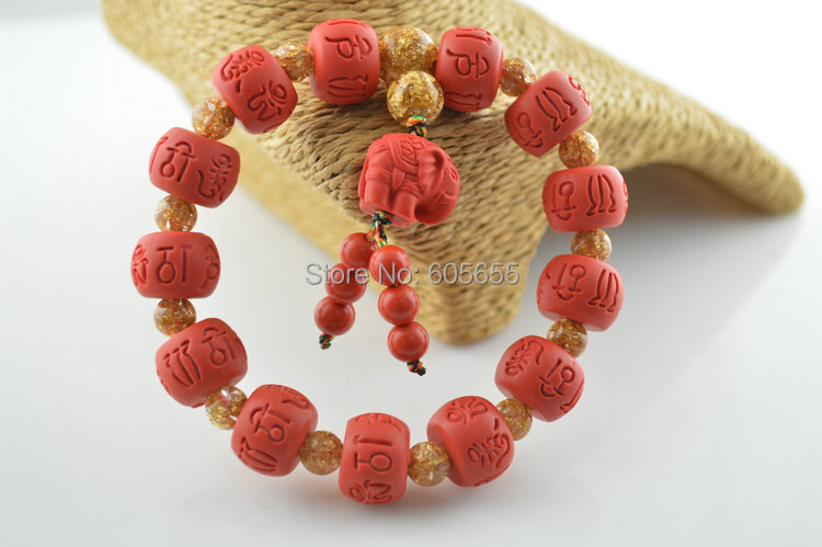 5pc Cool Unisex Carved Words Red Cinnabar Barrel Beads Bracelets Fashion Buddhist Om mani padme hum Mala Prayer Jewelry<br><br>Aliexpress