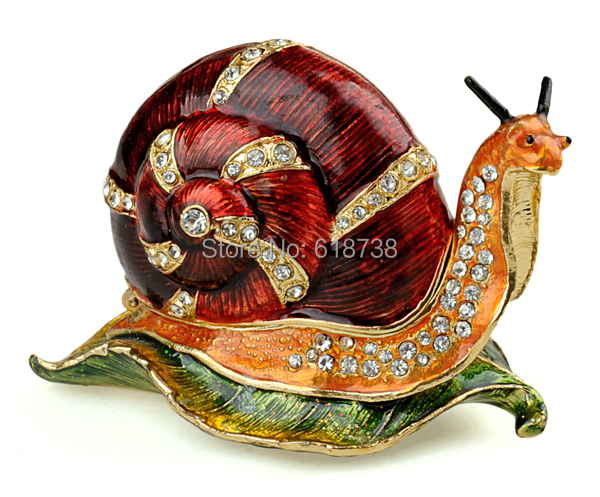 Red snail bejeweled Trinket Box decorative Collectible metal alloy box jewelry box gifts Ornaments Home Accessories X'mas Gifts