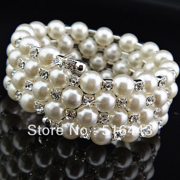 Charms 12pcs 5 rows Clear Czech Rhinestones Stretchy Women Pearl Bangles Bracelets Wholesale Jewelry Lots A-688