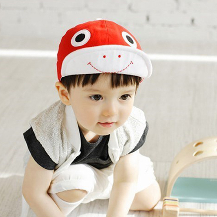 Lasted! 3 colors Baby Casquette Cartoon Frog Design Baby Cotton Baseball Caps Toddler Baby Soft Floppy Hat 5pcs MZC-15125(China (Mainland))