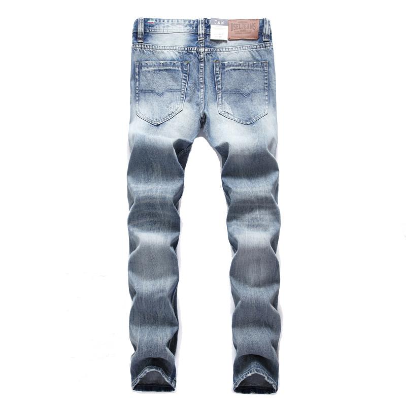Скидки на Новая Мода Дизайнерский Бренд Dsel Мужские Джинсы Прямые Тонкий Байкер мужчин Джинсы Молнии Узкие Джинсы Рваные Джинсы С Дырками мужчин брюки