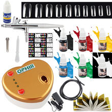 OPHIR 0.4mm Single-Action Complete Airbrush Kit with Compressor for Nail Art Tools Gel Nail Inks Stencil Beginner Set#OP-NA003G(China (Mainland))