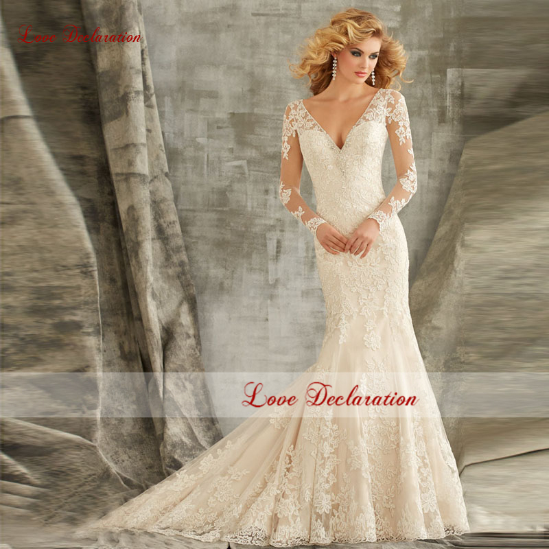 Mermaid Wedding Gowns With Long Trains : Lace mermaid wedding gowns sexy long sleeve dress with train