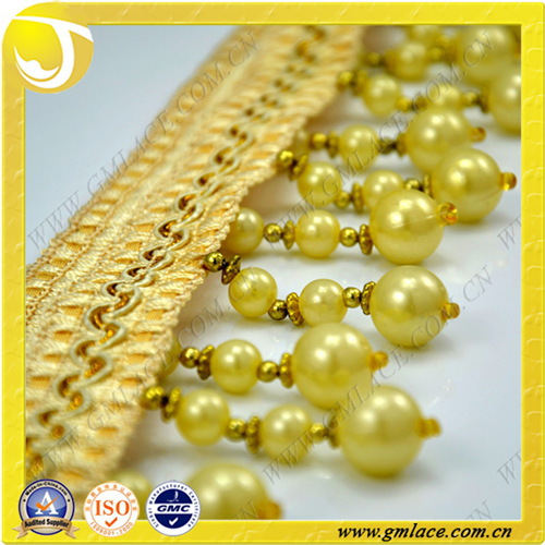 Yellow Beaded Curtain Fringe Trimming With For Curtain Decorative Accessory 2014 Hot Sale Sofa Bed Curtain Decoration Accessory(China (Mainland))