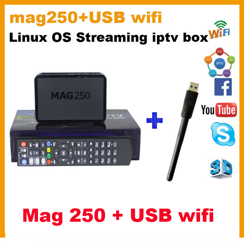 Mag250 iptv box + usb wifi adapter HD linux iptv box mag254 basic version set top box mag 250 box Free shipping<br>