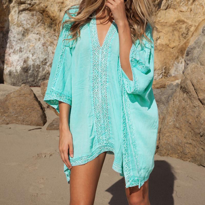 Summer sexy women cotton lace hollow beach scarf dress for Beach shirt cover up