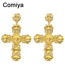 Comiya newest Big gold filled india cross earrings for women pendientes largos statement earring brincos Barroco Gothic Jewlery(China (Mainland))
