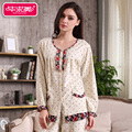 Spring Women Pajama Sets Knitted Cotton Sleep Lounge Full Sleeve Pyjama Round Neck Polka Dot Sleepwear
