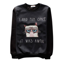 Raisevern funny GRUMPY CAT print 3D hoodies pullovers 'I Had Fun Once It Was Awful' letters print 3d sweatshirt hip-hop clothes(China (Mainland))