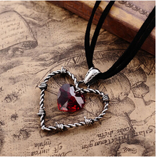 2015 Valentine's Day hotselling Gothic jewelry,Braveman Double Heart Pendant Love Of Captivity Crystal necklace,Men Jewelry,2243
