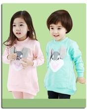 Children's hoddies cute bunny design boys girls long sleeve t shirt pullover 3D bunny ears design kids long t shirt Freeshipping(China (Mainland))