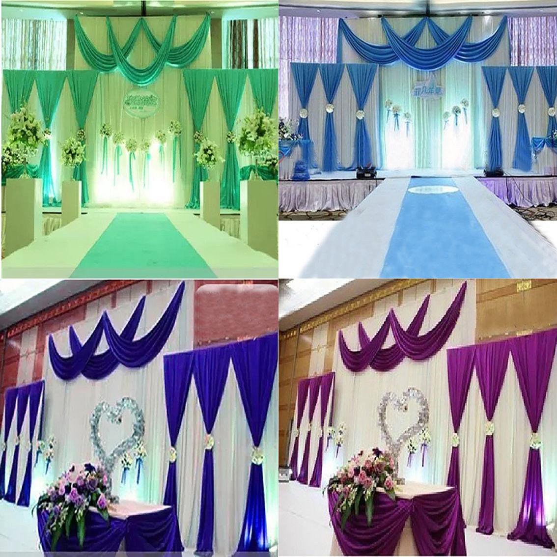 3PCS Ice Silk Pleated Wedding Backdrop Curtain Decoration&Swag Background Decor-L1(China (Mainland))