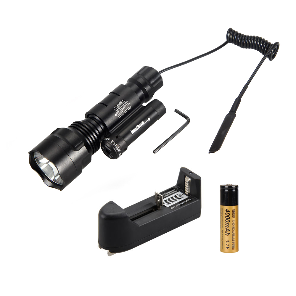 4000Lm Green LED Flashlight Torch Light Red Dot Laser Sight Rechargeable +18650+Charger(China (Mainland))