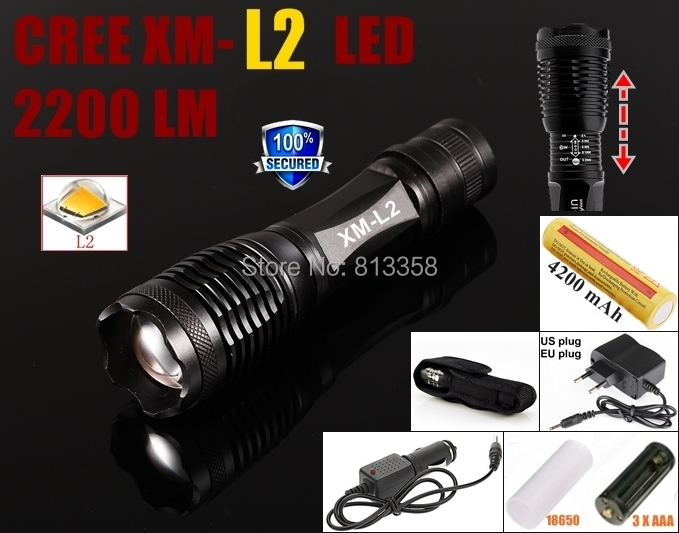 100% Authentic  E007 CREE XM-L2 LED 2200LM Adjustable focal Flashlight Torch with 1x18650 Battery+AC Charger+Car charger+holster<br><br>Aliexpress