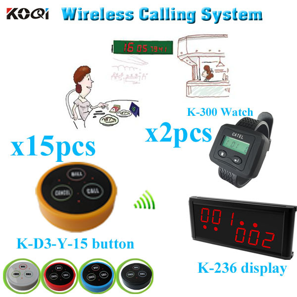 Table Pager System for Restaurant button call receiver display watch (1 display receiver+ 2 watch +15 table bell button)(China (Mainland))