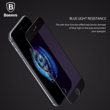 Original Baseus Full screen fit Blue light resistance Tempered Glass for iPhone 7 / 7 Plus 0.2mm 9H film protector glass