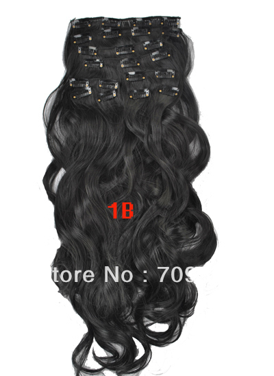 cheap synthetic clip in wavy hair extensions 10pcs 170g 1set 22 24 inch  #1B Off Black