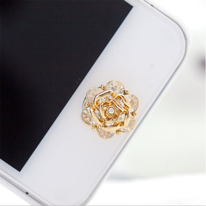 1 Pcs Rose Elegent Cool 3D Silver Diamond Crystal Home Button Sticker For iPhone 4/5/5s/6 Apple Ipad(China (Mainland))