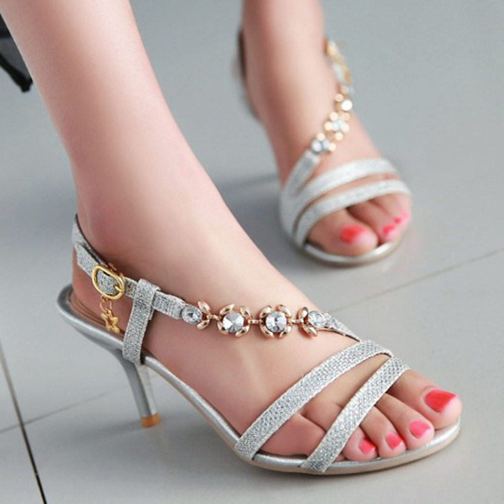 Womens sandals in size 12 - Shoes Women Sandals Summer High Heels Party Wedding Silver Rhinestone Gold Size 9 10 12 14