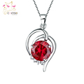 Ruby stone Pendant w white Gem stone Necklace with adjustable chain Titanium Steel Triple Layers Platinum