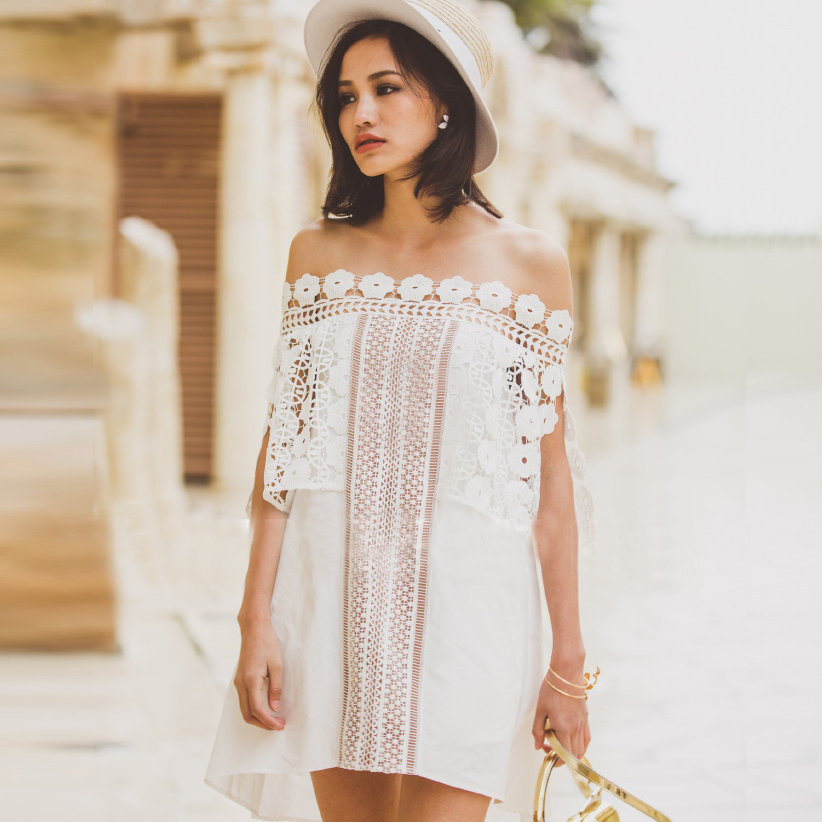 Self portrait 2016 new arrive off shoulder dresses hollow out lace floral pattern dress women famous brand clothing white color(China (Mainland))