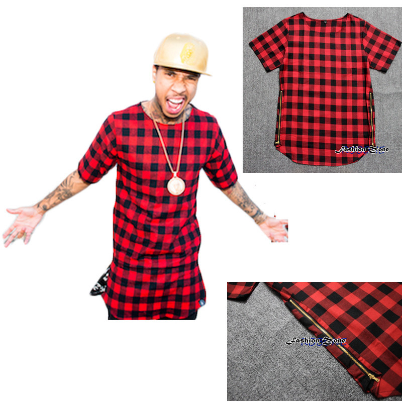 Side Zipper Plaid summer style last kings Man Hip Hop Hiphop Skakeboard Streetwear Swag Tshirt Tops Tees T shirt Men Tyga Style,in T,Shirts from Mens