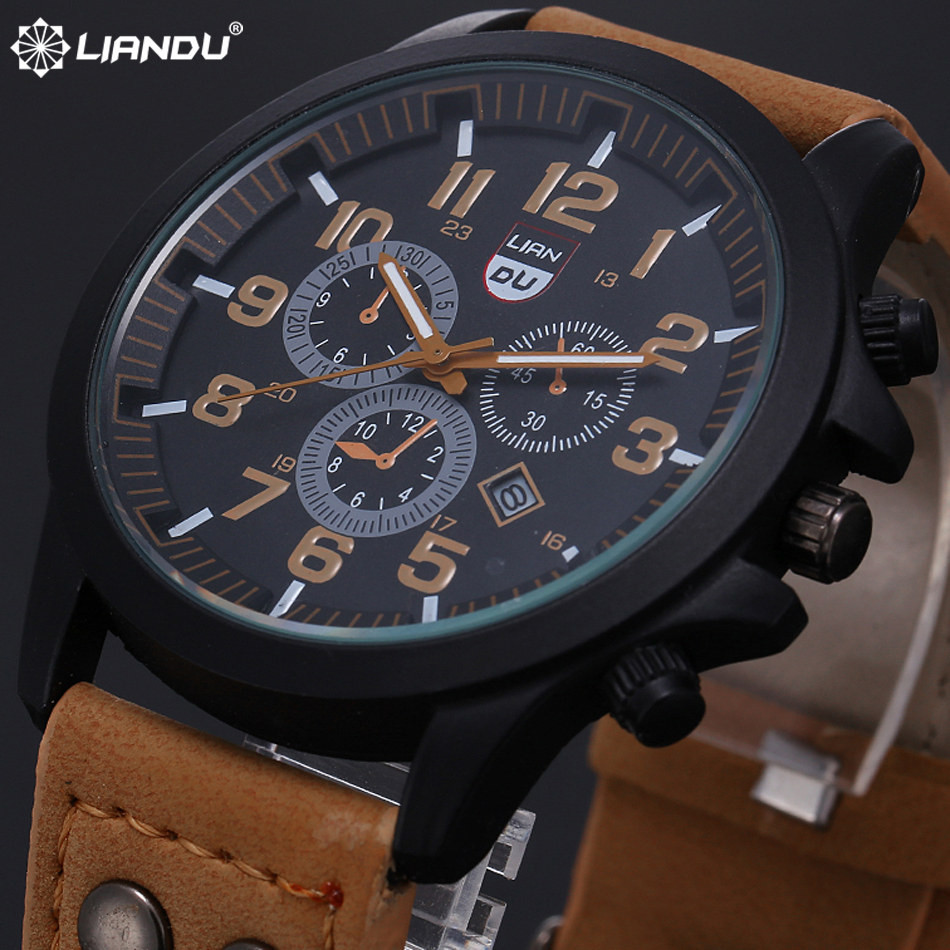 New 2016 Fashion Gold Quartz Watch Men Military Leather Strap Watches Luxury Brand Casual Relogio Masculino Wristwatches Brown(China (Mainland))