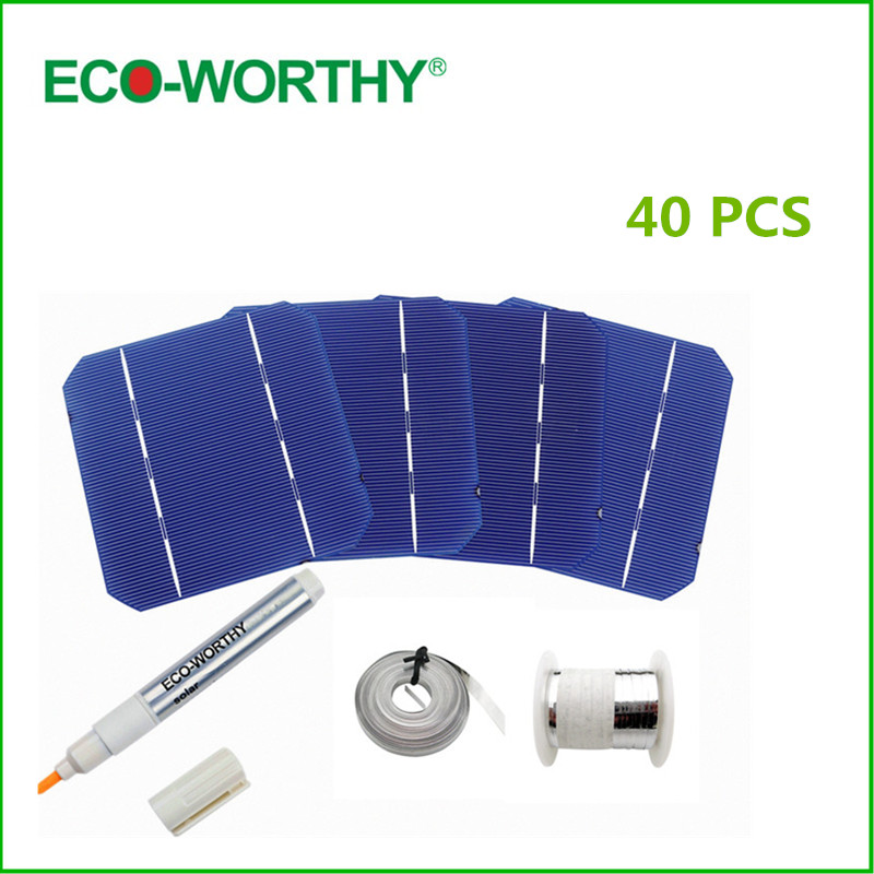 40pcs 5x5 A Grade 125*125 Monocrystalline Solar Cell+Flux Pen+Tab Wire +Bus Wire Mono Solar Cells for DIY 100W 12V Solar Panel(China (Mainland))