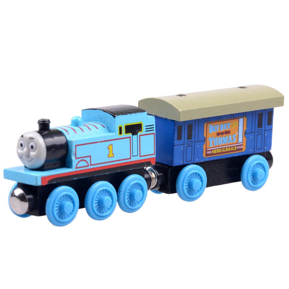 2pcs/lot Baby educational vehicle toys Wooden Magnetic Tomas Railway Train head Tomas and Passenger car(China (Mainland))