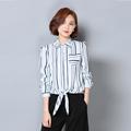 Blusas Femininas plus size 2016 New Autumn Blusas Y Camisas Mujer Slim Stripe Chiffon Blouse ropa