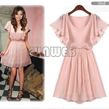 New Woman Girl Cute Sexy Summer Fashion Chiffon Short-sleeve Elasticized Waist Mini Dress Leisure Hot free shipping 3757