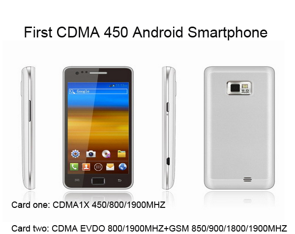 Unlocked Original CDMA 1x 450 800 1900MHZ EVDO CDMA GSM Mobile phone Dual SIM CDMA 450mhz Smartphone Android 4.0 cell phones(China (Mainland))
