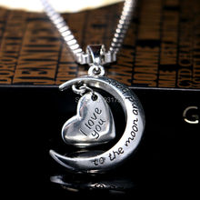 New Fashion I Love You To The Moon And Back Silver Plated Heart Personalized Pendant Necklace Jewelry Wholesale Best Friend Gift(China (Mainland))