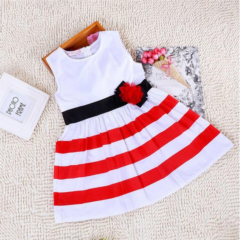 5pcs/lot summer Girls Dress Girls Dresses Kids Clothes Vestidos girls cotton dress Christmas Red white striped princess dress