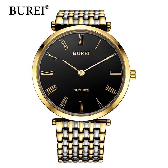 BUREI Мужские часы лучший бренд роскоши сапфир кристалл из нержавеющей стали Часы золото японские кварцевые наручные часы