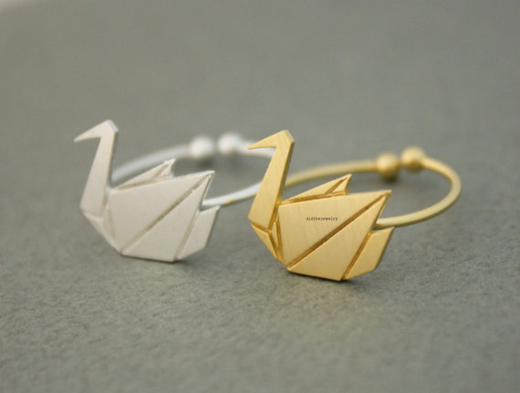 New Arrival! 1 pcs Selling Origami Swan Ring, Cute Animal Ring for Women 2015 Adjustable Rings Anels(China (Mainland))