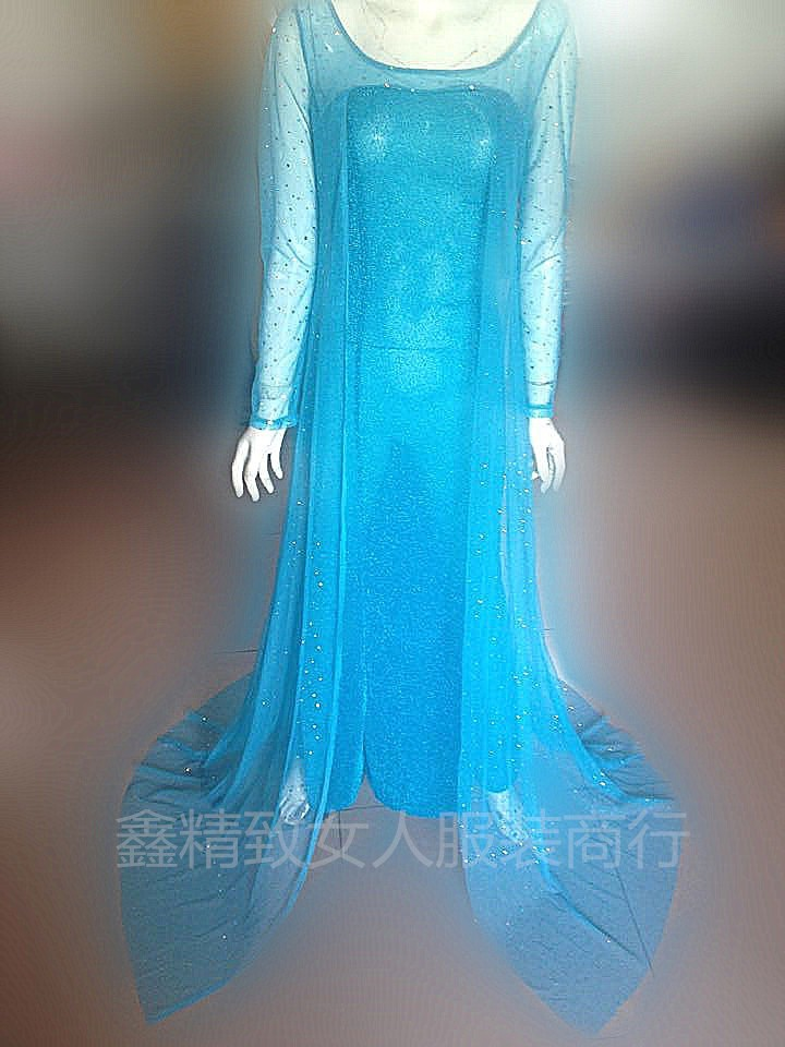 2015 Hot Sales  New Xmas  Elsa Queen Adult Women Sky Blue Dress Costume Cosplay  party Flowery Fancy Dresses free shipping S-XLОдежда и ак�е��уары<br><br><br>Aliexpress