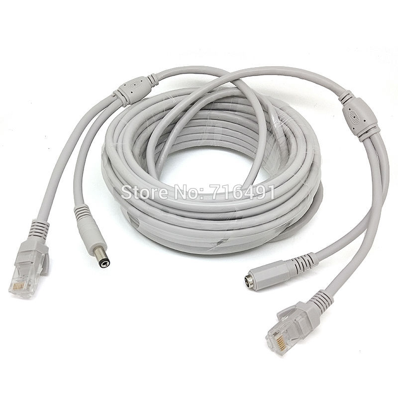 50M/164ft CCTV Network Cable RJ45 Cable with 12V DC Power 2.1x5.5mm CAT5/5e Extension CCTV Ethernet Cable For CCTV IP Camera NVR(China (Mainland))