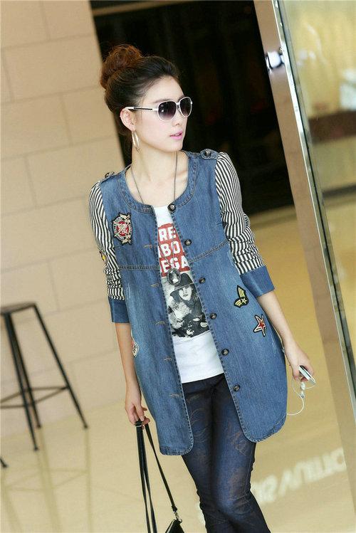2016 Direct Selling Appliques Button Coats Denim Jacket Women New O-neck Stitching Stripe Coat Big Yards Long Sleeve Tops NN01(China (Mainland))