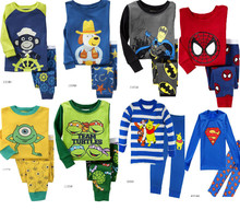 2015 hot selling 2T-7T children's long sleeve cartoon pajamas boy sleepwear  lovely home clothing sets for kids(China (Mainland))