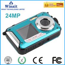 FreeShipping16X Digital Optical Zoom 24MP Waterproof Camera TFT LCD ScreenUnderwater Waterproof Digital Camera Brand New Dive 3M(China (Mainland))
