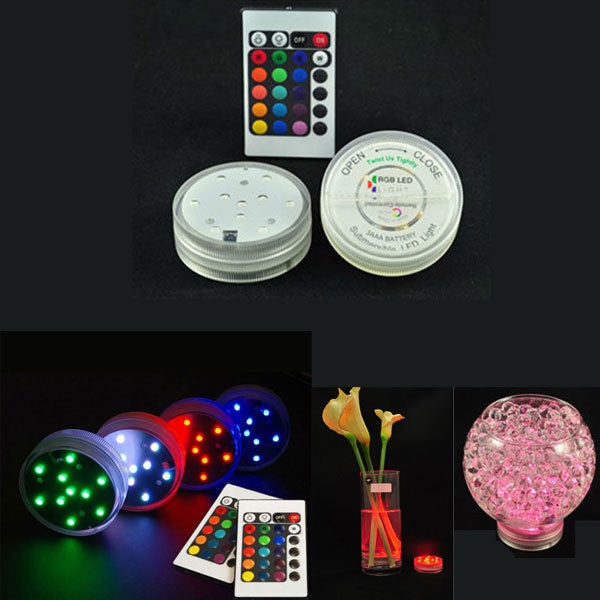 10 LED Multi Colors Submersible Waterproof Wedding Party Decoration Floral Vase Base Light +Remote(China (Mainland))
